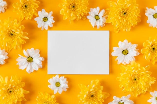 Widok z góry piękna kompozycja wiosennych kwiatów z pustą kartą