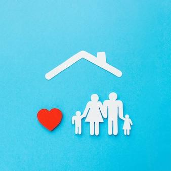 Widok z góry postać rodziny z sercem