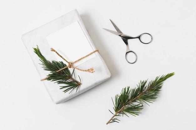 Widok z góry prezentu z paproci i nożyczkami