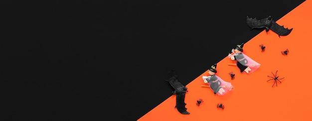 Widok z góry przerażające elementy halloween z miejsca na kopię
