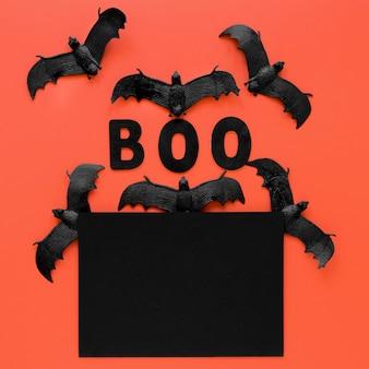 Widok z góry przerażające nietoperze halloween