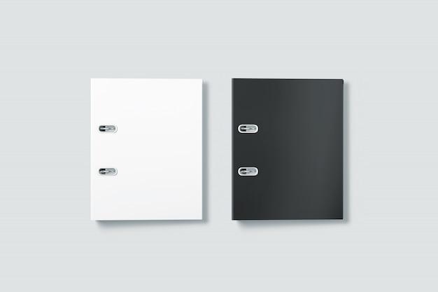Widok z góry puste folder czarno-biały segregator segregatorowych