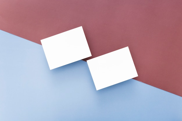 Widok z góry puste wizytówki z miejsca kopiowania