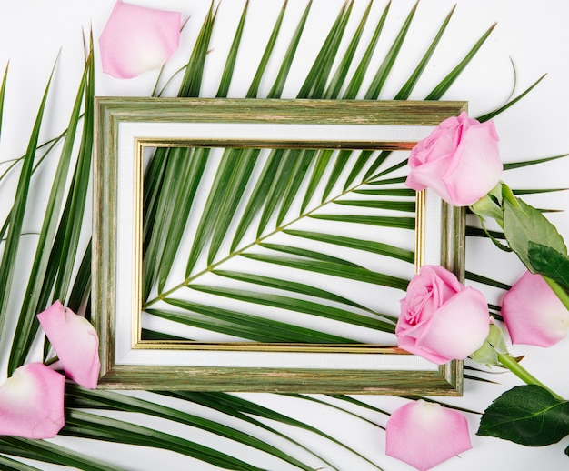 Widok z góry pustej ramki na zdjęcia z różowym kolorze róż na liściu palmowym na białym tle