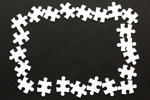 Widok z góry puzzle ramki koncepcji