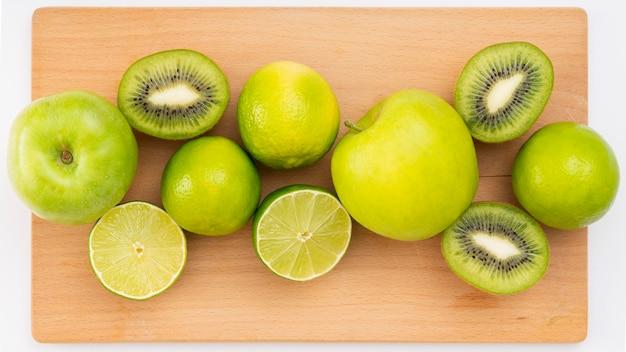 Widok z góry pyszne zielone owoce
