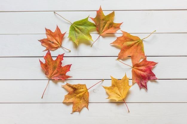 Widok z góry ramki wielobarwnych opadłych liści na podłoże drewniane