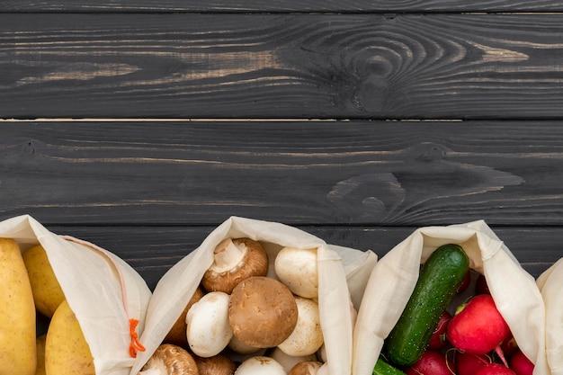 Widok z góry ramki zdrowej żywności