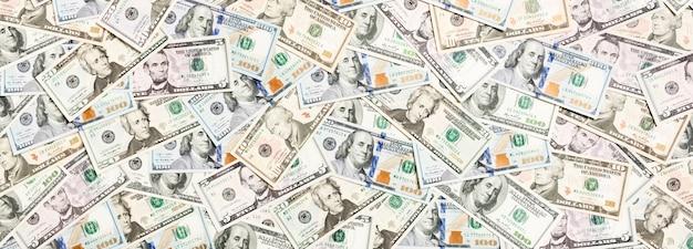 Widok z góry różnych dolarów gotówki