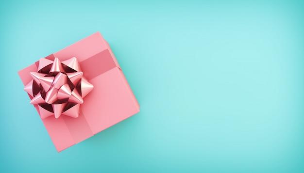 Widok z góry różowe pudełko na niebieskim piętrze