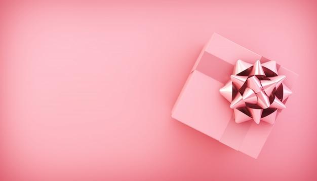 Widok z góry różowe pudełko