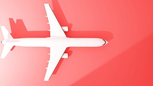 Widok z góry samolotu na czerwono - renderowanie 3d