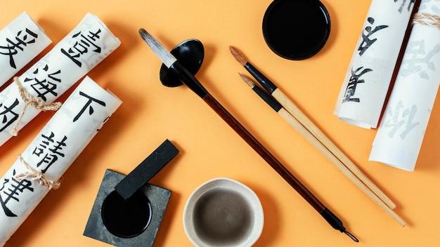 Widok z góry skład elementów chińskiego atramentu