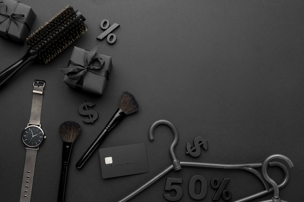 Widok z góry skład elementów sprzedaży w czarny piątek z miejsca na kopię