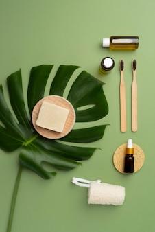 Widok z góry skład naturalnych produktów do samoopieki