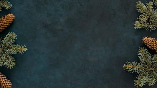 Widok z góry śliczne zimowe igły sosnowe kopia przestrzeń