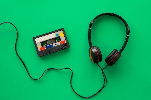 Widok Z Góry Słuchawki Muzyki Koncepcji Premium Zdjęcia
