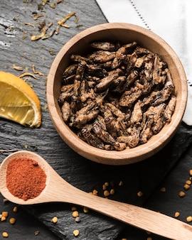 Widok z góry smażone robaki z przyprawami