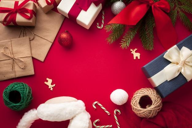 Widok z góry świąteczne świąteczne dekoracje
