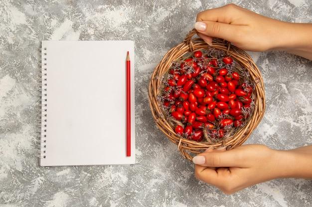 Widok z góry świeże kwaśne derenie wewnątrz kosza z notatnikiem na białym tle owoce jagodowe witamina kwaśne łagodne drzewo roślin