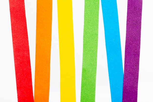 Widok z góry tęczowy papier kolorowy