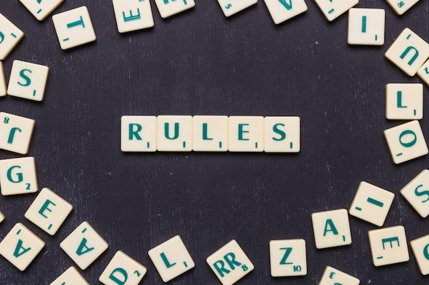 Widok z góry tekstu reguł wykonanych z liter w grze scrabble