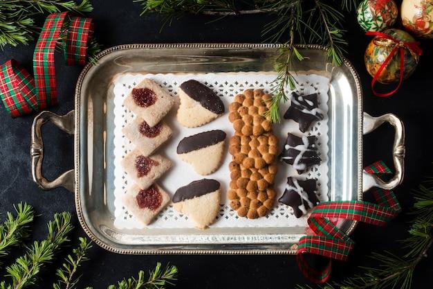 Widok z góry układ ciasteczka świąteczne