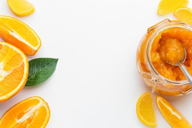 Widok z góry układ plasterki pomarańczy