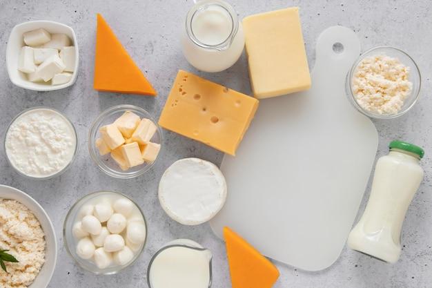 Widok z góry układ produktów mlecznych