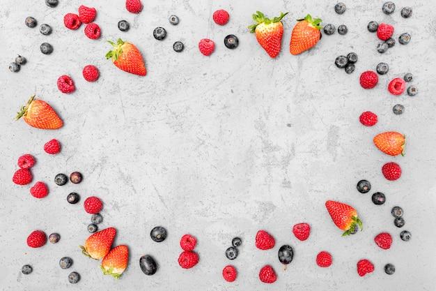 Widok z góry układ przestrzeni kopii owoców