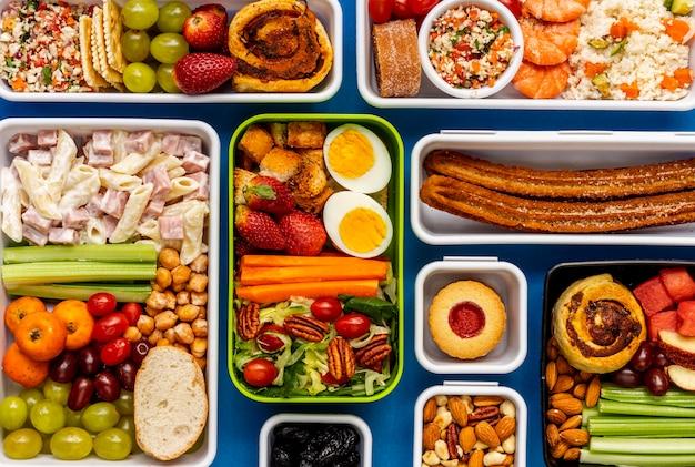 Widok z góry układ zdrowej żywności pakowanej