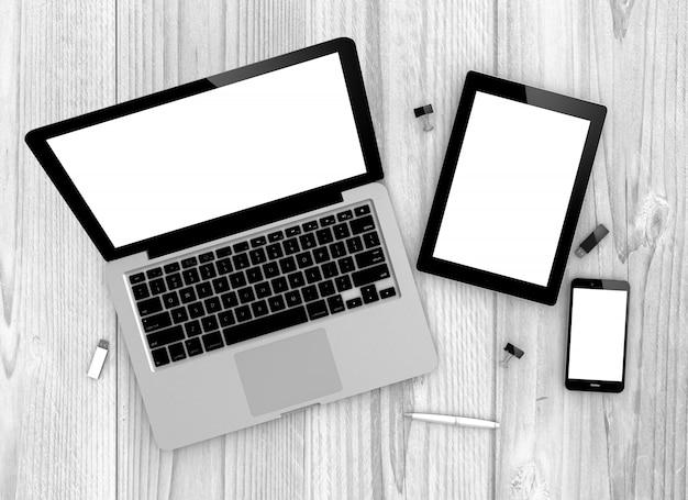 Widok z góry urządzenia macbook pro, ipad i iphone