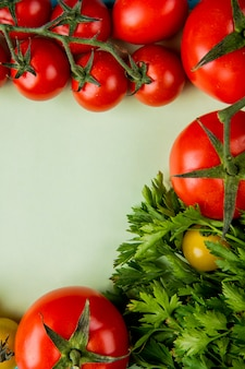 Widok z góry warzyw jak kolendra i pomidor na białym tle