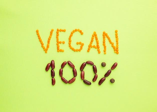 Widok z góry wegański napis 100%