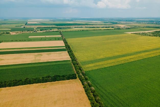 Widok z góry widok z lotu ptaka pól uprawnych piękne żółte i zielone pola grunty rolne krajobraz pa...