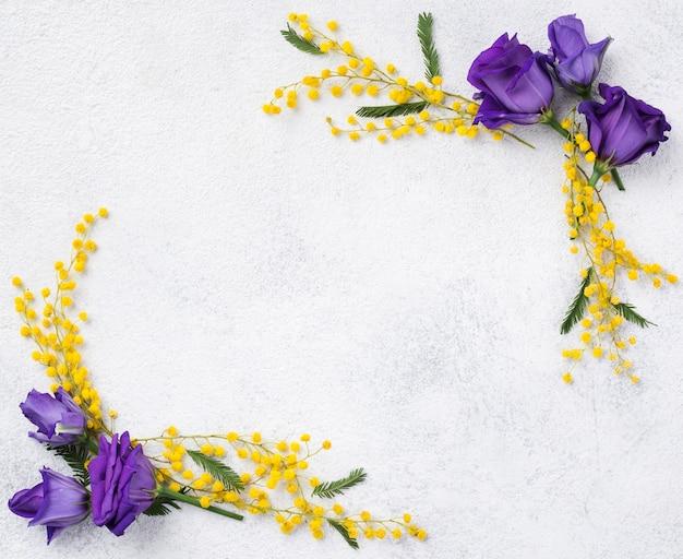 Widok z góry wiosenne gałęzie kwiatowe