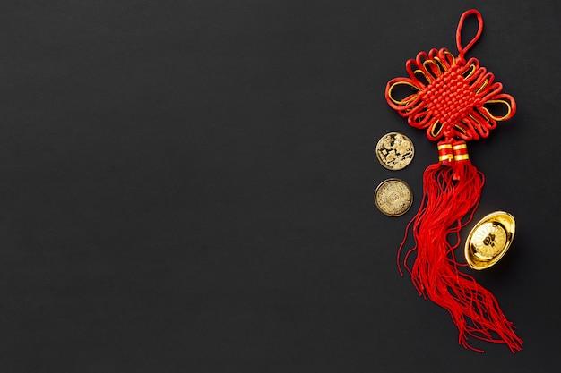Widok z góry wisiorka na chiński nowy rok