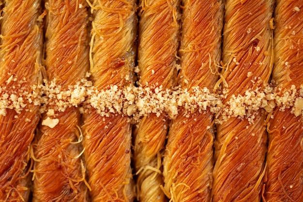Widok z góry wzór tekstury żywności tureckiej baklawy