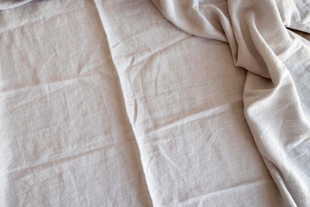 Widok z góry z białej tkaniny