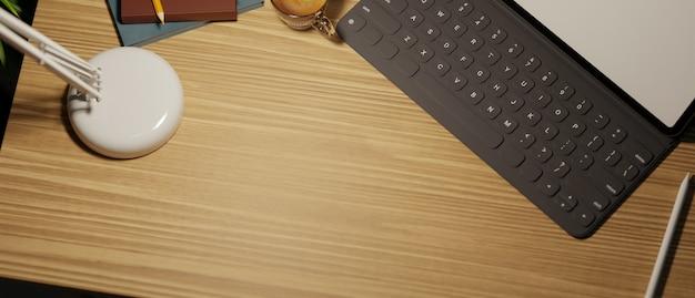 Widok z góry zbliżenie nowoczesnego miejsca pracy z miejscem na kopię do wyświetlania produktu przenośnego tabletu 3d