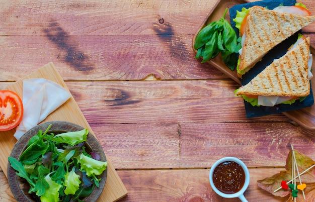 Widok z góry zdrowe kanapki
