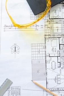 Widok z góry złożony plan architektoniczny