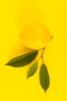 Widok z góry żółta cytryna świeże dojrzałe z zielonymi liśćmi samodzielnie na żółtym tle kolor owoców cytrusowych
