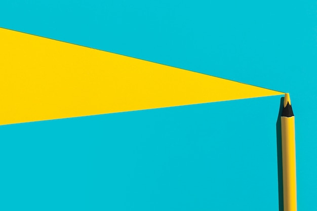 Widok z góry żółty długopis