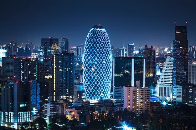 Widok z lotu ptaka bangkok centrum miasta skyline tajlandii