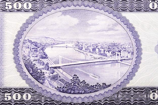 Widok z lotu ptaka budapesztu i dunaju ze starego forintów węgierskich