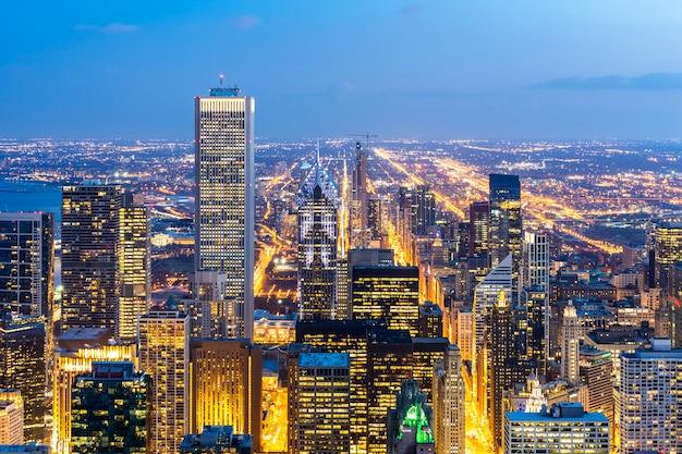 Widok z lotu ptaka chicago skylines południe