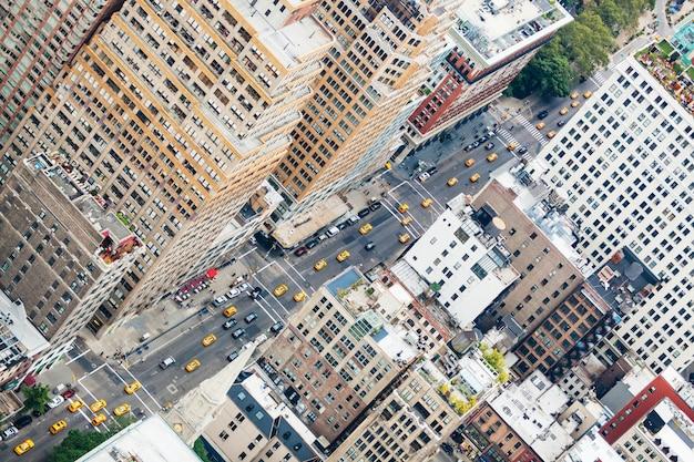 Widok z lotu ptaka city street w nowym jorku