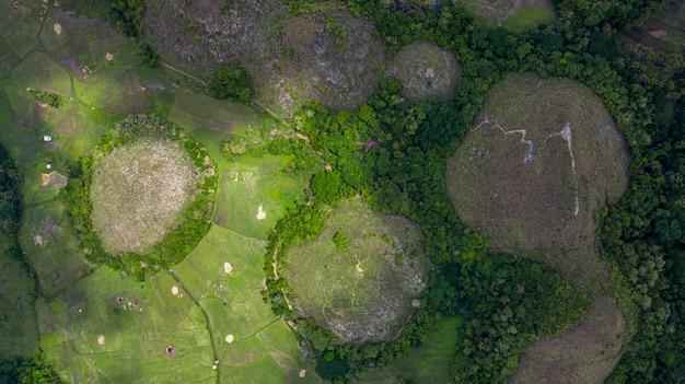 Widok z lotu ptaka czekoladowe wzgórza bohol island