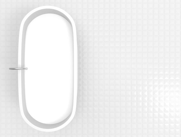 Widok z lotu ptaka dojny ceramiczny skąpanie na kopia przestrzeni kwadracie tafluje podłogowego tło małego.